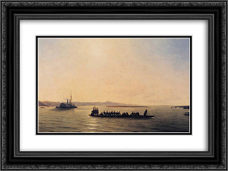 Alexander II Crossing the Danube 24x18 Black or Gold Ornate Framed and Double Matted Art Print by Ivan Aivazovsky