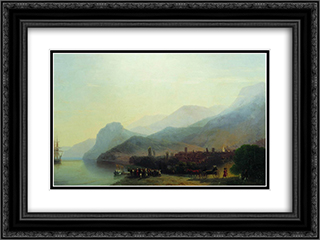 Alushta 24x18 Black or Gold Ornate Framed and Double Matted Art Print by Ivan Aivazovsky
