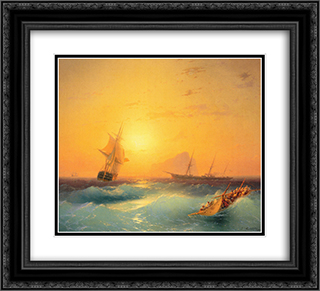 American Shipping off the Rock of Gibraltar 22x20 Black or Gold Ornate Framed and Double Matted Art Print by Ivan Aivazovsky
