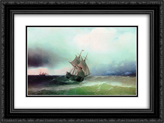 Approximation of the storm 24x18 Black or Gold Ornate Framed and Double Matted Art Print by Ivan Aivazovsky