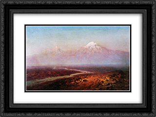 Araks River and Ararat 24x18 Black or Gold Ornate Framed and Double Matted Art Print by Ivan Aivazovsky