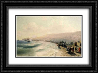 Arrival Catherine the Second to Pheodosiya 24x18 Black or Gold Ornate Framed and Double Matted Art Print by Ivan Aivazovsky