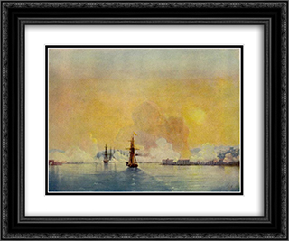 Arrival into Sevastopol Bay 24x20 Black or Gold Ornate Framed and Double Matted Art Print by Ivan Aivazovsky