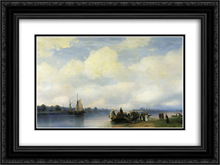 Arrival of Peter I on the Neva 24x18 Black or Gold Ornate Framed and Double Matted Art Print by Ivan Aivazovsky