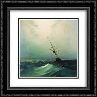 At night. Blue wave 20x20 Black or Gold Ornate Framed and Double Matted Art Print by Ivan Aivazovsky