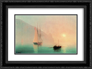 Ayu-Dag on a foggy day 24x18 Black or Gold Ornate Framed and Double Matted Art Print by Ivan Aivazovsky