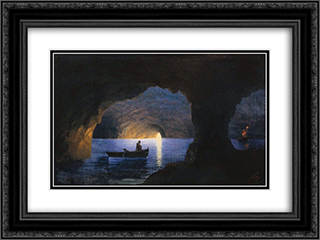 Azure Grotto. Naples 24x18 Black or Gold Ornate Framed and Double Matted Art Print by Ivan Aivazovsky