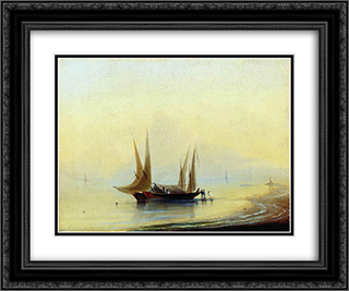 Barge in the sea shore 24x20 Black or Gold Ornate Framed and Double Matted Art Print by Ivan Aivazovsky