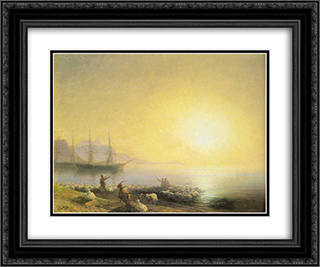 Bathing of a sheeps 24x20 Black or Gold Ornate Framed and Double Matted Art Print by Ivan Aivazovsky
