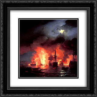 Battle of Cesme at Night 20x20 Black or Gold Ornate Framed and Double Matted Art Print by Ivan Aivazovsky