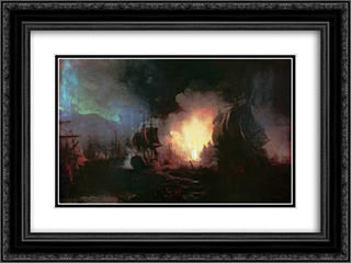 Battle of Chesma 24x18 Black or Gold Ornate Framed and Double Matted Art Print by Ivan Aivazovsky