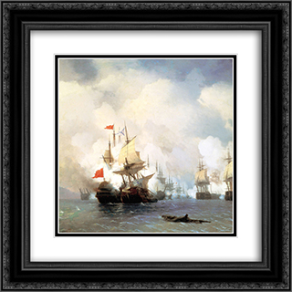 Battle of Chios on 24 June, 1770 20x20 Black or Gold Ornate Framed and Double Matted Art Print by Ivan Aivazovsky