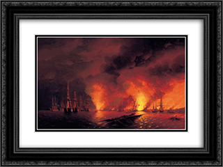 Battle of Sinop 24x18 Black or Gold Ornate Framed and Double Matted Art Print by Ivan Aivazovsky