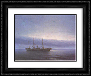Before battle. Ship. Constantinople 24x20 Black or Gold Ornate Framed and Double Matted Art Print by Ivan Aivazovsky