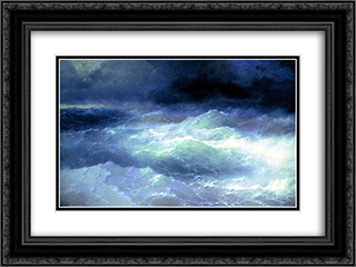 Between the waves 24x18 Black or Gold Ornate Framed and Double Matted Art Print by Ivan Aivazovsky