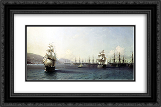 Black Sea Fleet in the Bay of Feodosia, just before the Crimean War 24x16 Black or Gold Ornate Framed and Double Matted Art Print by Ivan Aivazovsky
