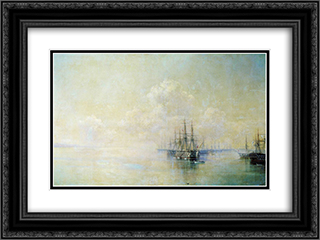 Black Sea Fleet squadron before going on the raid Sevastopol 24x18 Black or Gold Ornate Framed and Double Matted Art Print by Ivan Aivazovsky