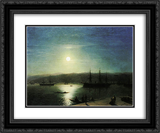 Bosphorus by Moonlight 24x20 Black or Gold Ornate Framed and Double Matted Art Print by Ivan Aivazovsky