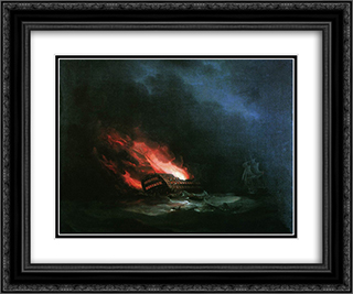 Burning ship (the episode of the Russian-Turkish War) 24x20 Black or Gold Ornate Framed and Double Matted Art Print by Ivan Aivazovsky