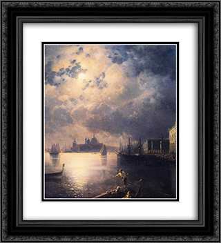 Byron in Venice 20x22 Black or Gold Ornate Framed and Double Matted Art Print by Ivan Aivazovsky