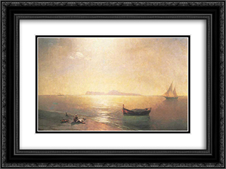 Calm on the Mediterranean Sea 24x18 Black or Gold Ornate Framed and Double Matted Art Print by Ivan Aivazovsky
