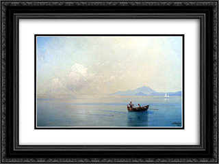 Calm Sea. Landscape with fishermen 24x18 Black or Gold Ornate Framed and Double Matted Art Print by Ivan Aivazovsky