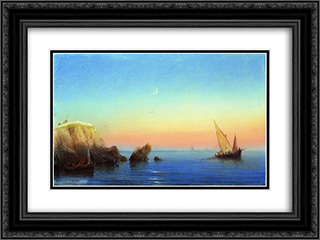 Calm sea. Rocky coast 24x18 Black or Gold Ornate Framed and Double Matted Art Print by Ivan Aivazovsky