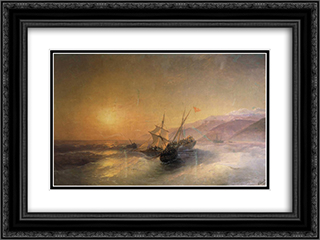 Capture Turkish kocherma 24x18 Black or Gold Ornate Framed and Double Matted Art Print by Ivan Aivazovsky