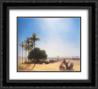 Caravan in the oasis. Egypt 22x20 Black or Gold Ornate Framed and Double Matted Art Print by Ivan Aivazovsky