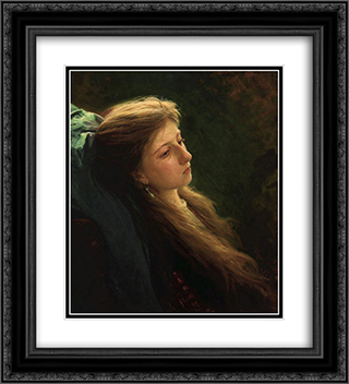 A Girl with her hair unbraided 20x22 Black or Gold Ornate Framed and Double Matted Art Print by Ivan Kramskoy