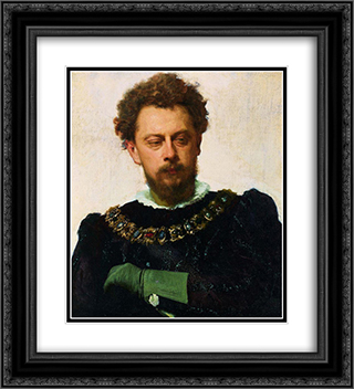 Actor Alexander Lensky Pavlovich as Petruchio inShakespeare's Taming of the Shrew 20x22 Black or Gold Ornate Framed and Double Matted Art Print by Ivan Kramskoy