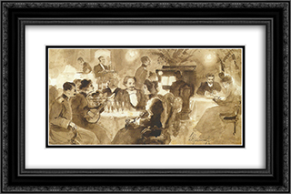 At the restaurant 24x16 Black or Gold Ornate Framed and Double Matted Art Print by Ivan Kramskoy