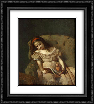 Books Got Her 20x22 Black or Gold Ornate Framed and Double Matted Art Print by Ivan Kramskoy