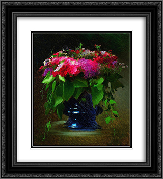 Bouquet of Flowers 20x22 Black or Gold Ornate Framed and Double Matted Art Print by Ivan Kramskoy