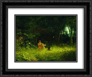 Children in the forest 24x20 Black or Gold Ornate Framed and Double Matted Art Print by Ivan Kramskoy
