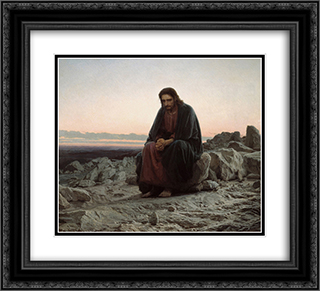 Christ in the Wilderness 22x20 Black or Gold Ornate Framed and Double Matted Art Print by Ivan Kramskoy