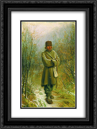 Contemplator 18x24 Black or Gold Ornate Framed and Double Matted Art Print by Ivan Kramskoy