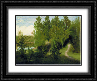 Forest path 24x20 Black or Gold Ornate Framed and Double Matted Art Print by Ivan Kramskoy