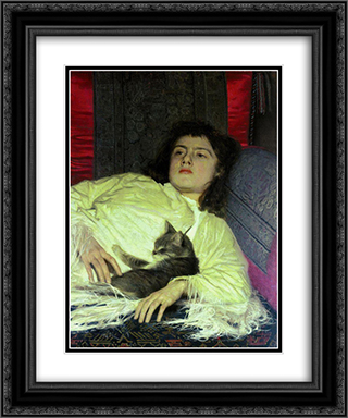 Girl with a Cat 20x24 Black or Gold Ornate Framed and Double Matted Art Print by Ivan Kramskoy