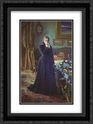 Inconsolable grief 18x24 Black or Gold Ornate Framed and Double Matted Art Print by Ivan Kramskoy