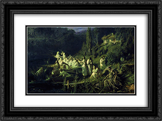 Mermaids 24x18 Black or Gold Ornate Framed and Double Matted Art Print by Ivan Kramskoy