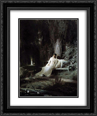 Moonlit Night 20x24 Black or Gold Ornate Framed and Double Matted Art Print by Ivan Kramskoy
