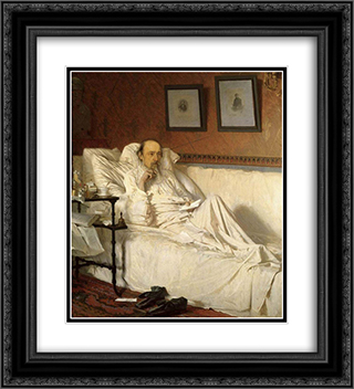 N.A. Nekrasov, during The last songs 20x22 Black or Gold Ornate Framed and Double Matted Art Print by Ivan Kramskoy