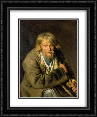 Old Man with a Crutch 20x24 Black or Gold Ornate Framed and Double Matted Art Print by Ivan Kramskoy