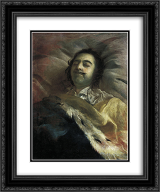 Peter I on his deathbed 20x24 Black or Gold Ornate Framed and Double Matted Art Print by Ivan Nikitin