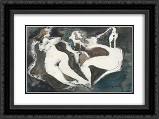 Figuras e bichos 24x18 Black or Gold Ornate Framed and Double Matted Art Print by Ivan Serpa