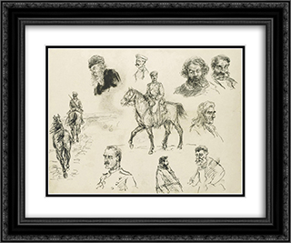 A Russian Cavalry Officer (recto) and Other Sketches of Various Characters (verso) 24x20 Black or Gold Ornate Framed and Double Matted Art Print by Ivan Vladimirov