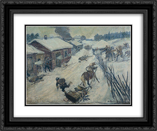 An episode from the Civil War. The battle in the village. 24x20 Black or Gold Ornate Framed and Double Matted Art Print by Ivan Vladimirov