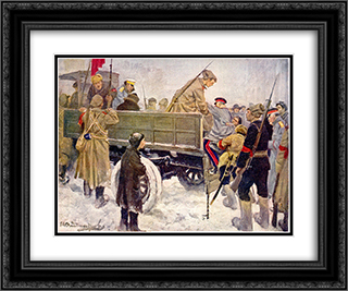 Arresting Generals during the Revolution in February 1917 24x20 Black or Gold Ornate Framed and Double Matted Art Print by Ivan Vladimirov