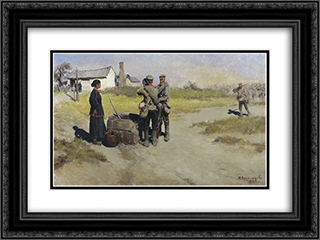 At the well 24x18 Black or Gold Ornate Framed and Double Matted Art Print by Ivan Vladimirov